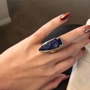 Kendra Scott blue dusty arrow ring gold